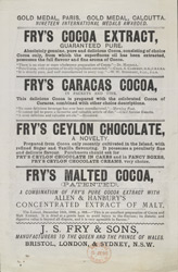 Advert For Fry's Cocoa reverse